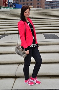 Outfit_Fashion_Fashionblogger_pinker Blazer_Adidas Schuhe_Collage_2