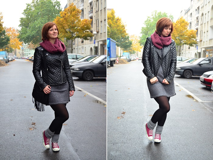 Outfit_Lederjacke_TKmaxx_Orsay_Kleid_Glitzerkleid_Kleid von Orsay_Chucks_Converse_Fashion_Outfitpost_Annanikabu_1