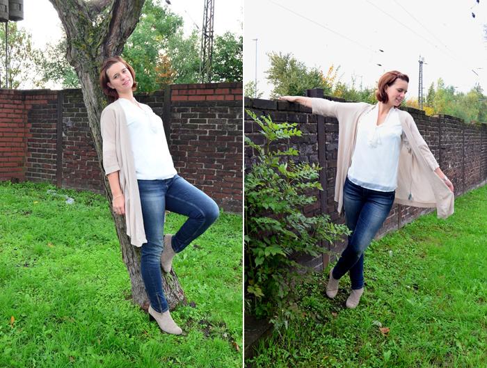Outfit_Orsay_Jeans_beige_Herbstoutfit_beige Strickjacke_Bluse mit Schleife_weiße Bluse_Outfit mit weißer Bluse_beige Stiefeletten_Annanikabu_1