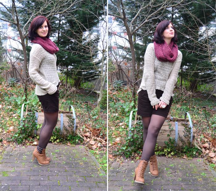 Outfit_Annanikabu_Beni Durrer_roter Schal_Hotpants_naturfarben_braune Stiefel_Stiefeletten_5