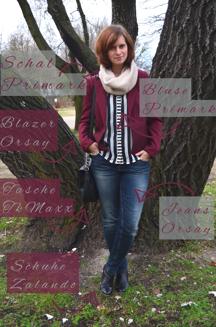 Outfit_Fashion_gestreifte Bluse_roter Blazer_bordeauxroter Blazer_used Jeans_Orsay_Annanikabu_1 Kopie