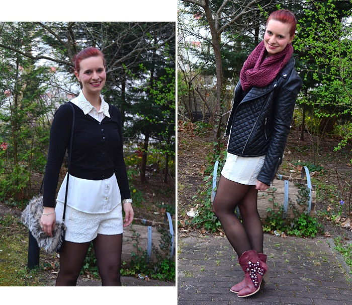 Outfit_Outfitpost_High waist Shorts_weiße Shorts_Cowboystiefel_rote Cowboystiefel_Lederjacke_schwarze Lederjacke_Lederjacke kombinieren_Outfit mit Stiefeln_Annanikabu_Collage