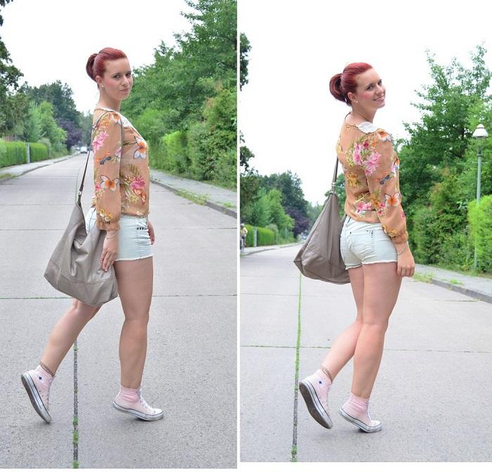 Annanikabu_Studio Wandel_Schmetterling_Schmetterlingsbluse_Bluse mit Schmetterlingen_Shirt mit Schmetterlingen_Schmetterlinge_süßes Outfit_Glitzerrock_Mango_Rock von Mango_Berlin_Collage_2
