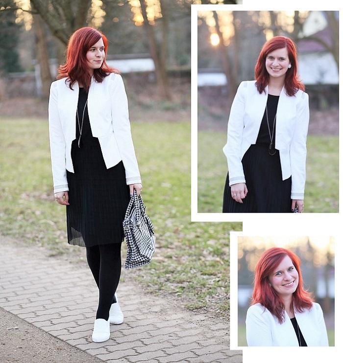 das kleine Schwarze_weißer Blazer_Blazer von Orsay_Orsay_Kleid von Esprit_schwarzes Kleid_black dress_Annanikabu_Collage_1