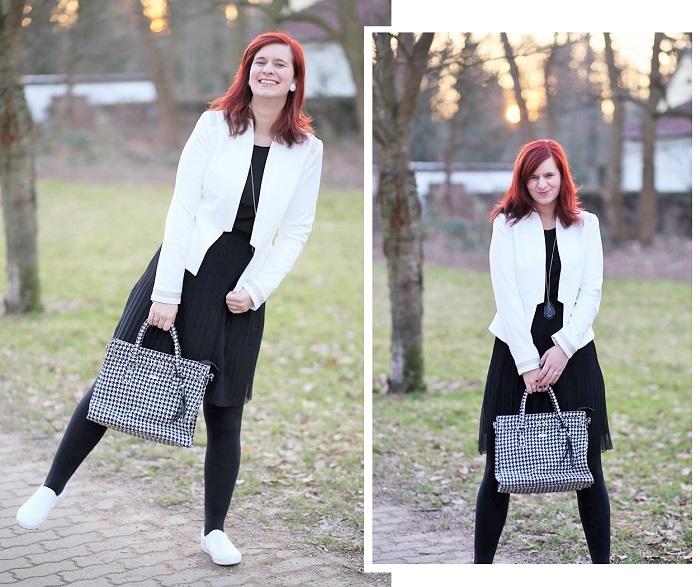 das kleine Schwarze_weißer Blazer_Blazer von Orsay_Orsay_Kleid von Esprit_schwarzes Kleid_black dress_Annanikabu_Collage_2