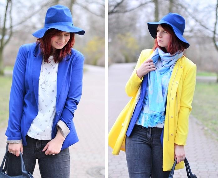 gelber Mantel_blauer Hut_Hut von Stradivarius_Mantel von Stradivarius_gelber Frühlingsmantel_blau gelbes Outfit_Outfit mit blauem Hut_Annanikabu_2 (2)