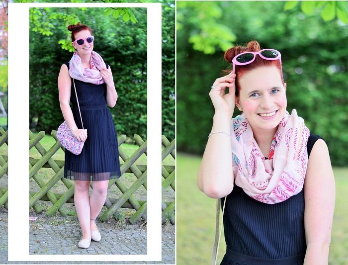kleines schwarzes_schwarzes kleid_schwarz und rosa_schwarzes kleid kombinieren_frühlingsoutfit_Outfit für Frühling_Kleid von Esprit_Annanikabu_1