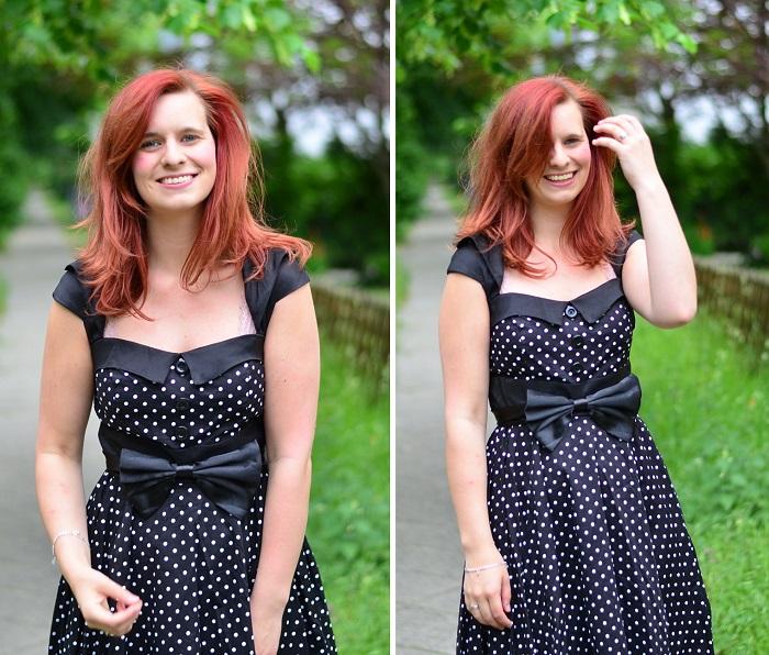 Petticoat_Zugeschnuert_Petticoat mit Schleife_gepunktetes Kleid_Kleid mit Schleife_Kleid mit Punkten und Schleife_rote Haare_rothaarige Frau_Annanikabu_1